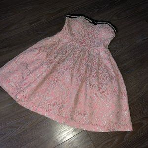 Pink strapless & above knee, dress!